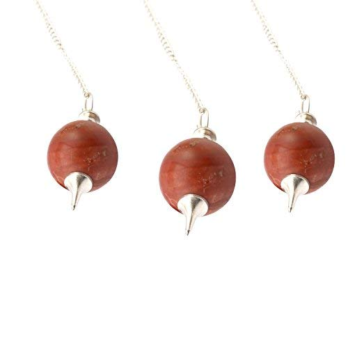 Set of 3 5Elements Natural Healing Red Jasper Gemstone Round Pointed Reiki Chakra Ball Pendulum