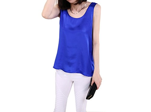 Dyed Mulberry - MAXFEEL 100% Pure Mulberry Silk Women Sleeveless Tank Top Basic Top Undershirt Soild Dyed Multicolor M L XL Sizes (M, Royal Blue)