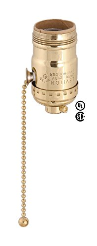 Leviton Solid Brass Shell W/Uno Thread, Pull Chain Socket For 3-Way Bulbs