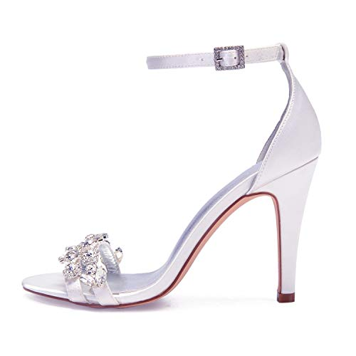 Red Sposa L Per Cm yc Piattaforma Scarpe Donna 10 5 Strass Heel Heels Da Bridesmaid Toe Peep Kitten Satin Feste Fashion tRw1R
