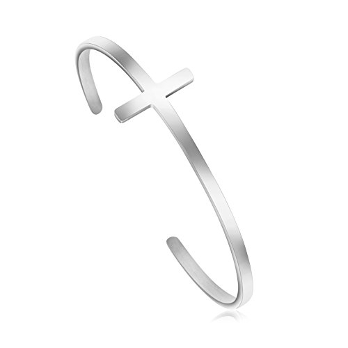 MEMGIFT Christian Jewelry Cross Bracelet Stainless Steel Cuff Bangle Religious Gifts for Women