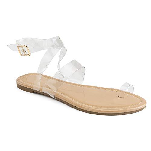 - RF ROOM OF FASHION Transparent Toe Ring Crisscross Strap Flat Sandal Nude Size.5.5