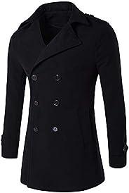 Men's Trench Coat Winter Long Jacket Double Breasted Overcoat Wool Blend Windproof Pea Coat Slim Fit Lapel