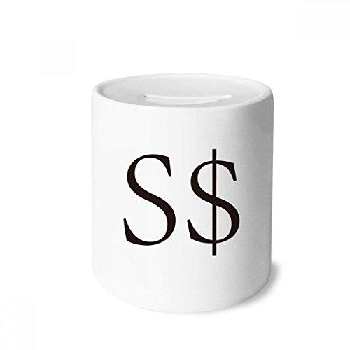 Symbol Singapore Dollar Money Box Saving Banks Ceramic Coin Case Kids Adults ()