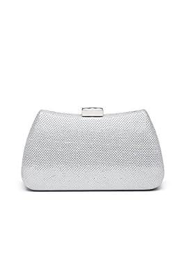 Women Clutch Purse Hard Case Shiny Evening Bag Glitter Handbag With Chain Strap (Silver)
