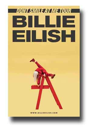 - Billie Eilish Poster Concert Promo 11 x 17 inches Dont Smile at Me Tour Red Ladder