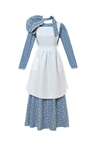 (ROLECOS Pioneer Costume Dress Womens American Historical Clothing Modest Prairie Colonial Dress Blue)