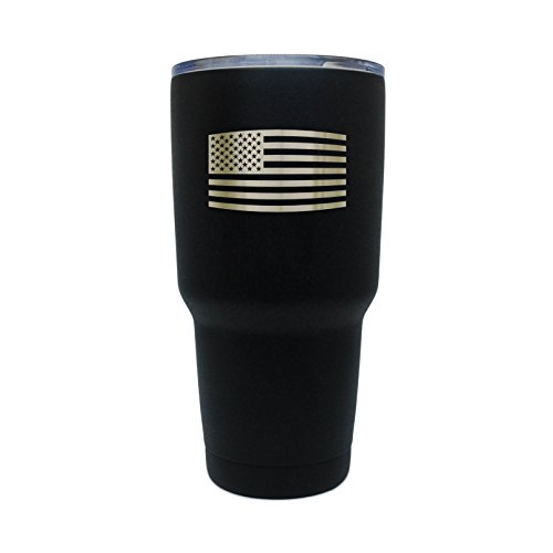 MODERN GOODS SHOP Black Double-Wall Vacuum-Sealed Tumbler With Laser Etched American Flag - 30 Oz Leakproof Stainless Steel Tumbler With Clear Lid- Made In USA