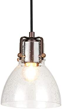 Cuaulans Mini Vintage Brown Finish Bubble Glass Pendant Light Small Pendant Lighting Fixture with Adjustable Cord for Kitchen Island Dining Room Farmhouse