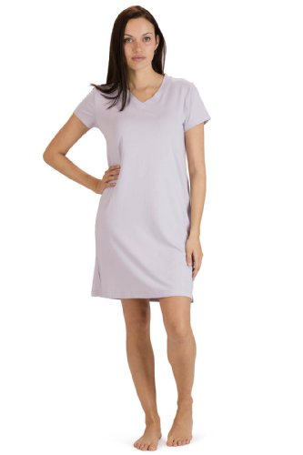 Fishers Finery Women's Tranquil Dreams V Neck Nightshirt  Comfort Fit, Lavender Fog, Large Bamboo Dreams Nightshirt