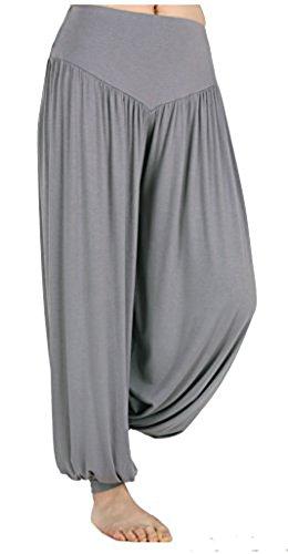 Mujeres Pantalones de Cordón Leggings de Harem Suave Hippie bloomers Pantalones Gris oscuro