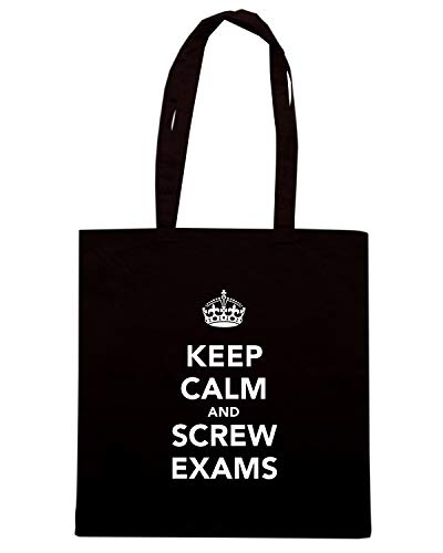 Speed Shirt Borsa Shopper Nera TKC0238 KEEP CALM AND SCREW EXAMS