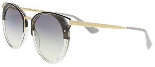 Prada Women's Round Cat Sunglasses, Striped Brown/Brown, One Size (Plastic Sunglasses Striped)