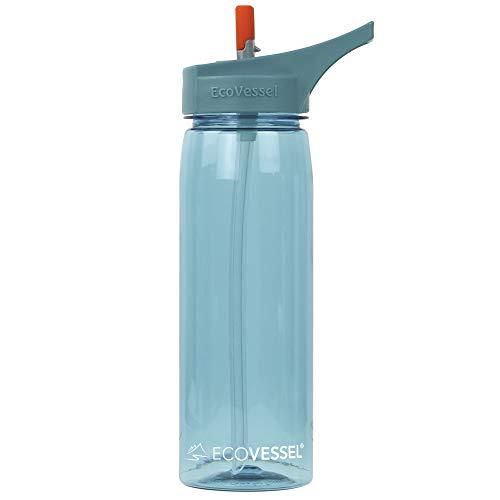 EcoVessel WAVE Tritan Plastic Sports Water Bottle with Flip Straw Top - 25 Ounces - Boulder Blue