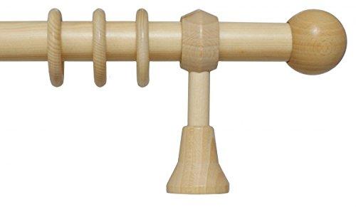 Holz Gardinenstange mit Endstück Kugel mit 28 mm Durchmesser in Natur 140 cm
