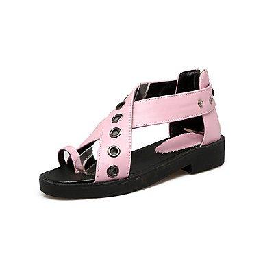 Sandalias Primavera Verano Otoño Zapatos Club PU Oficina & Carrera visten casual tacón bajo Cadena Blanco Rosa Azul Blushing Pink