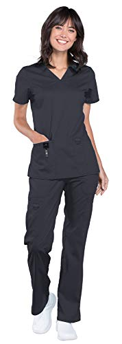 Cherokee Workwear Revolution Women's Medical Uniforms Scrub Set Bundle - WW620 V-Neck Top & WW120 Drawstring Pant & Marc Stevens Badge Reel (Pewter - Large/Large)