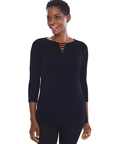 Travel Knit Top - Chico's Women's Travelers Classic Neck-Detail Top Size 8/10 M (1) Black