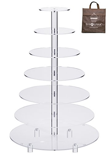 Jusalpha Large 7-Tier Acrylic Round Wedding Cake Stand-Cupcake Stand Tower-Dessert Stand-Pastry Serving Platter-Food Display Stand For Large Event (Large With Rod Feet Base)