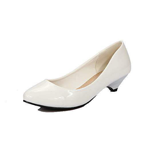 AgooLar Medio Tonda Puro GMMDA010971 Tirare Punta Flats Ballet Bianco Donna Tacco r6rPqwTp