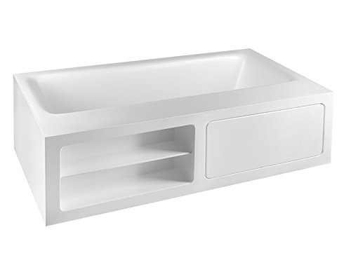 Gessi hot tub Rettangolo hot tub with open shelves 37597