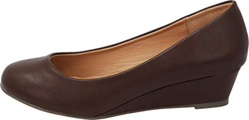 c0a3a5e97a Cambridge Select Women's Closed Round Toe Slip-On Low Wrapped Comfort Wedge