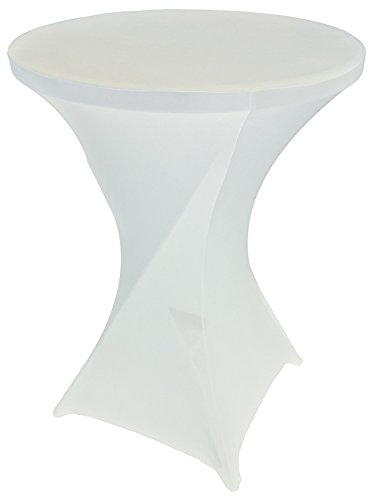 Goldstream Point White 32 Inch Round x 43 Inch Tall Spandex Cocktail Tablecloth Folding Cover Stretch (Bar Led Tables)
