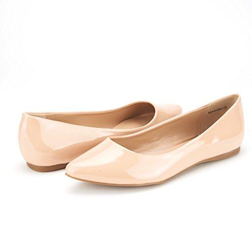 DREAM PAIRS Sole Classic Fancy Damen Casual Spitzschuh Ballett Comfort Soft Slip auf Wohnungen Schuhe Nackt-Pat