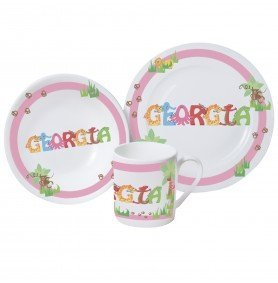 Baby Girls pink First Breakfast set Cup Dish \u0026 Plate personalised with the  sc 1 st  Amazon UK & Baby Girls pink First Breakfast set Cup Dish \u0026 Plate personalised ...