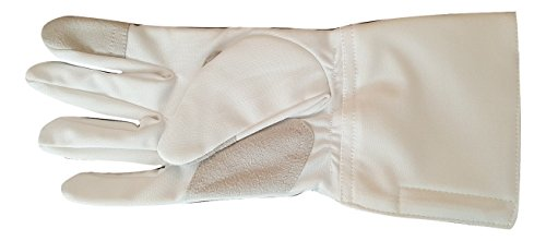 3-weapon Practice Glove Washable Epee Foil Sabre White Polyester (7.5, right)