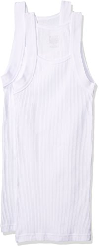 2(X)IST Men's Essential Cotton 2 Pack Square Cut Tank Underwear, White Natural, Large