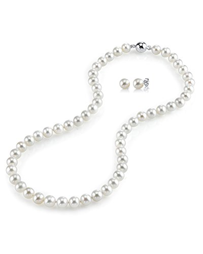 THE PEARL SOURCE AAA Quality 8-9mm Round White Freshwater Cultured Pearl Necklace & Earrings Set with Sterling Silver Magnetic Clasp for Women by The Pearl Source