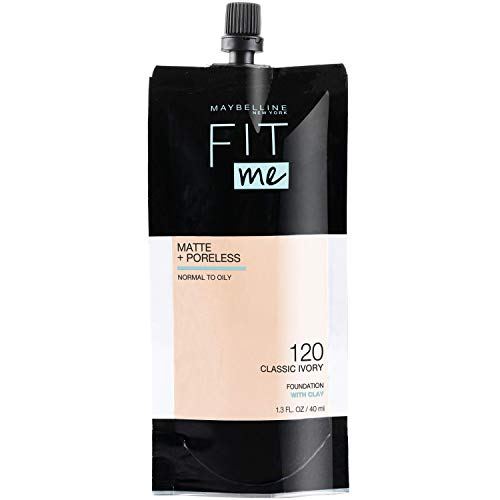 Maybelline Fit Me Matte + Poreless Liquid Foundation, Face Makeup, Mess-Free No Waste Pouch Format, Normal To Oily Skin…