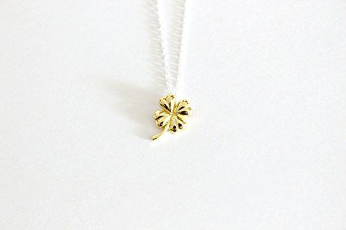 - Gold clover necklace, lucky four leaf shamrock pendant, gold plated over sterling silver solitare jewelry, st Patrick day, Irish wish gift