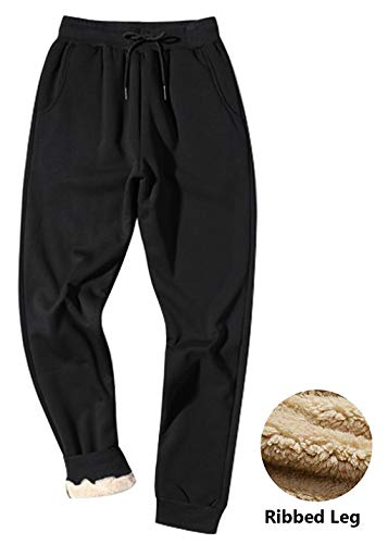 Gihuo Men's Winter Fleece Pants Sherpa Lined Sweatpants Active Running Jogger Pants (Black, X-Small)