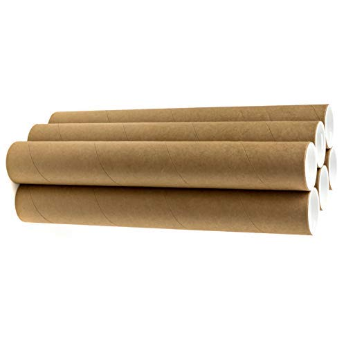"2"" x 18"" Cardboard Mailing Tubes - 6 Pack with White Caps, Poster Tubes, Document Tubes, Shipping Tubes for Storage, Mailing, and Protecting Your Art, Drawings, Posters & Prints"