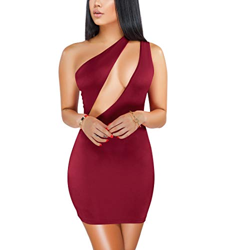 (Women Sexy Casual Basic One Shoulder Sleeveless Hollow Out Cutout Asymmetric Bodycon Mini Club Dress Red M)
