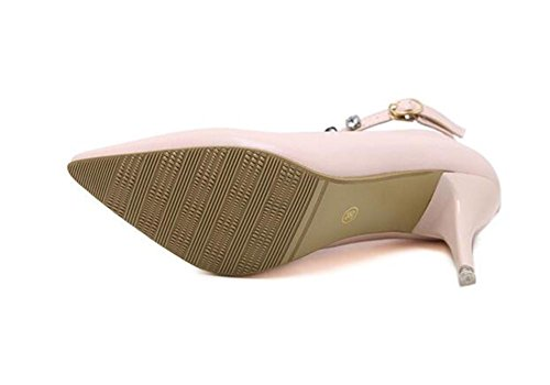 Pointure Toe Court Chaussures minces avec des chaussures à talons hauts Sexy Buckle Diamond Shoes , pink , 36