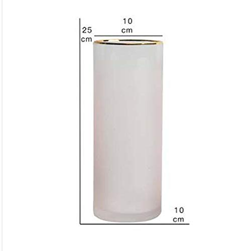 (Nordic Gradual Frosted Glass Transparent Vase Straight Tube Hydroponics Bottle Flower Vase Home/Party/Wedding Decor,Pink)