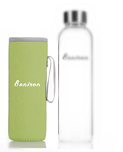 Bonison Nylon Sleeve Coloful Assortment Protection Sweat Absorption Insulation Carrying Borosilicate Glass Bottle Holder (Pink, Blue, Black, Grey, Lime Green) (Lime Green, 1 Piece)