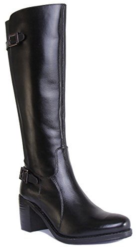 Justin Reece Jolie Women Leather Matt Brown Riding Boots Black 9zrgWz