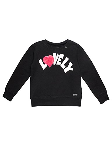 Replay Girls Black Sweater With Print And Faux Fur Detail in Size 10 Years Black by Replay