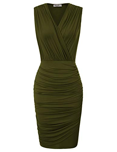 (GRACE KARIN Women Sexy Sleeveless Wrap V Neck Ruched Draped Bodycon Dress M Army Green)