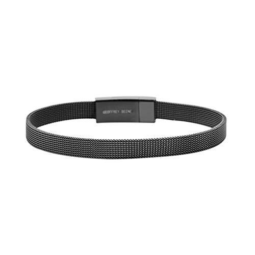 Geoffrey Beene Stainless Steel Men's Mesh Bracelet, Black,Large Wrist Size
