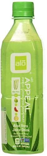 ALO Appeal Aloe Vera Juice Drink, Pomelo Plus Limon Plus Pink Grapefruit, 16.9  Fl. Oz (Pack of 12), Cane-Sugar Sweetened, Aloin-Free, No Artificial Flavors Preservatives or Colors