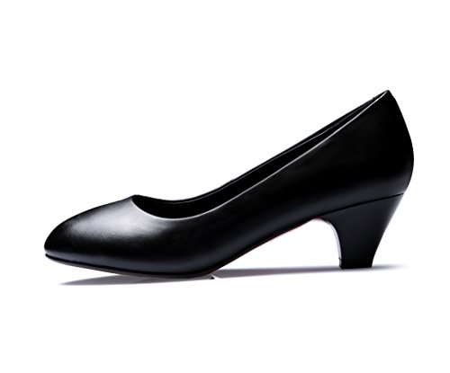 Chunky Shoes Mule Uppers Ladies BalaMasa Black Low Heels Pumps PU Cut 5qwFBzn1