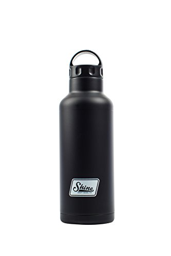 Water Bottle Stainless Steel Vacuum Insulated Wide Mouth by Shine Craft Vessels | Thermos Flask Keeps Water Stay Cold for 24 hours, Hot for 10 hours BPA Free ( Vintage Black ) - Vessel 750ML by Shine Craft Vessels