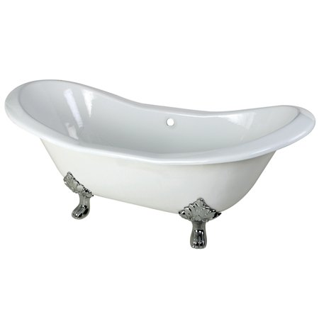 Kingston Brass Aqua Eden VCTND7231NC1 Cast Iron Double Slipper Clawfoot Bathtub with Chrome Feet without Faucet Drillings, 72-Inch, White (Bathtub Feet compare prices)