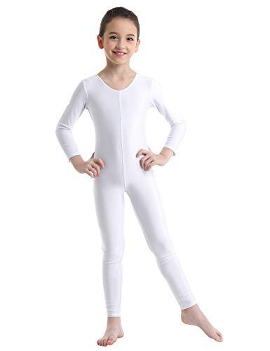 Alvivi Kid's Boys Girls Long Sleeve Unitard Jumpsuit Full Length Body Suit Metallic Gymnastics Leotard Dance wear Costumes White 7-8 (Gymnastics Jumpsuit)