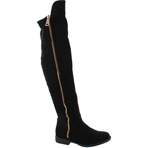 BAMBOO Monterey-05 Women's Stretch Back Side Zipper Low Heel Over The Knee Boots,Black Suede,7.5 ()